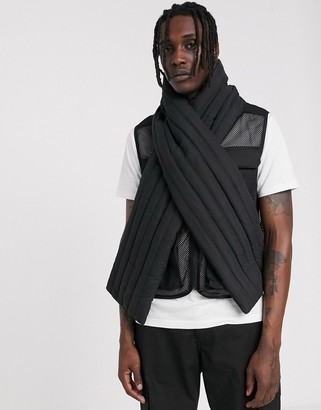 ASOS DESIGN panelled puffer scarf in black