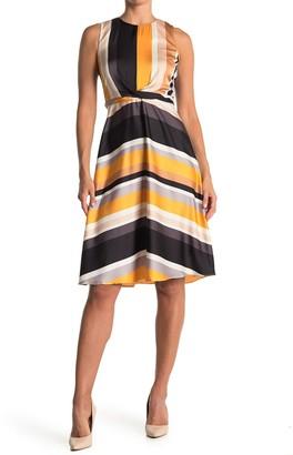 London Times Striped Waist Tie Dress