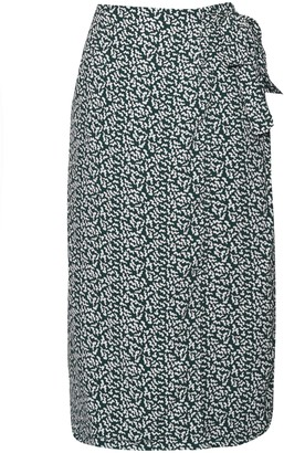 Glamorous Petites Womens **Squiggle Print Wrap Skirt By Glamorous - Green