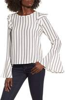 BP Ruffle Shoulder Flare Cuff Shirt