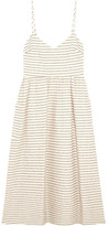 Mara Hoffman Striped Cotton-blend Midi Dress - Cream