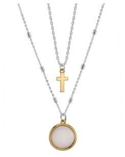 Unwritten Two-Tone Mother Of Pearl and Cross Layer Necklace