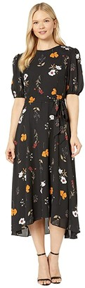 Donna Morgan Floral Printed Elbow Sleeve High-Low Georgette Dress