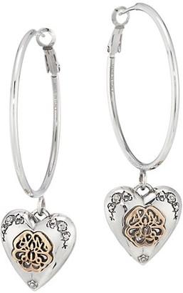 Alexander McQueen Two-Tone & Swarovski Crystal Heart Locket Hoop Earrings