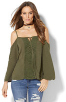 New York & Co. Crochet-Panel Cold-Shoulder Blouse