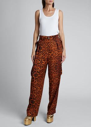 Dries Van Noten High-Rise Pleated Leopard Cargo Pants