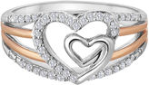 JCPenney FINE JEWELRY ForeverMine 1/5 CT. T.W. Diamond Two-Tone Double-Heart Ring