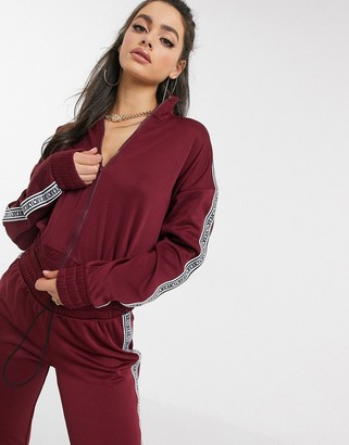 Juicy Couture Jxjc Tricot Logo Stripe Jacket co - ord in red