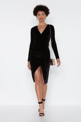 Nasty Gal Womens It'S A Wrap Velvet Dress - Black - 22, Black