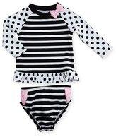 Kate Spade Stripe & Polka-Dot Rashguard Set, Black/White, Size 12-24 Months