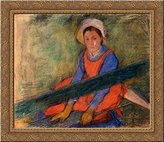 Art-Direct ArtDirect Woman Seated on a Bench 24x20 Gold Ornate Wood Framed Canvas Art by Edgar Degas