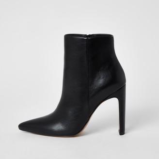 River Island Womens Black ankle skinny heel boots