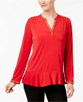 NY Collection Petite Embellished Mandarin-Collar Top