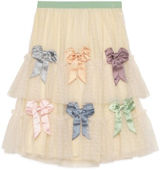 Gucci Children's tulle plumetis skirt with bows