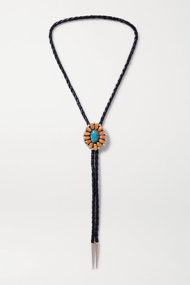 Jessie Western - Leather, Shell, Turquoise And Silver Necklace - one size