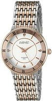August Steiner Women's AS8178TTR Silver and Rose Gold Quartz Watch with White Dial and Silver and Rose Gold Bracelet