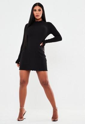 Missguided Black Rib High Neck Lettuce Hem Mini Dress