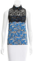 Peter Som Lace-Paneled Printed Top