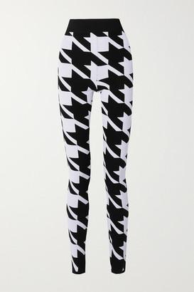 Balmain Houndstooth Stretch-knit Leggings - Black