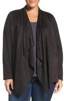 Foxcroft Plus Size Women's Faux Suede Front Open Cardigan