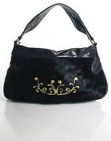Nicoli Black Ponyhair Leather Stitch Trim Casual Shoulder Handbag