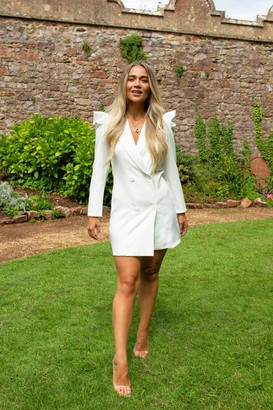 Nasty Gal Womens Nice to Meet You Puff Sleeve Blazer Dress - White - S