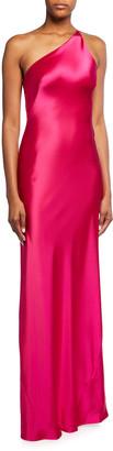 Galvan Roxy Satin One-Shoulder Gown