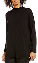 Eileen Fisher Lightweight Viscose Jersey Mock Neck Tunic