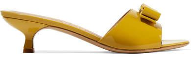 Salvatore Ferragamo Ginostra Bow-embellished Patent-leather Mules - Saffron