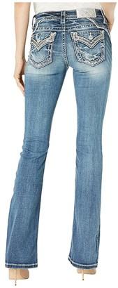 Miss Me Embellished Yoke Chloe Bootcut Jeans in Dark Blue (Dark Blue) Women's Jeans