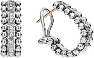 Lagos Caviar Spark Diamond Oval Hoop Earrings