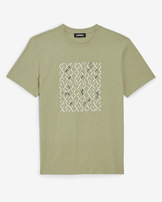 Express Green Patterned Logo Graphic T-Shirt