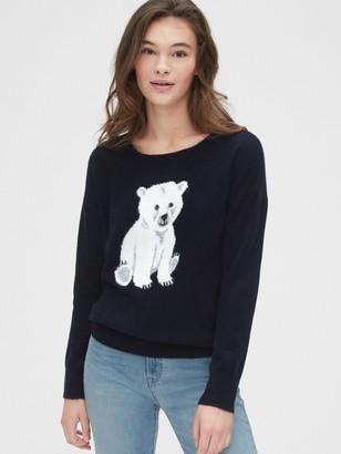 Gap Fuzzy Intarsia Graphic Crewneck Sweater