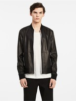 Calvin Klein Platinum Reversible Leather Bomber Jacket