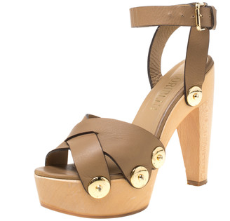 Loriblu Brown Leather Ankle Wrap Platform Sandals Size 38