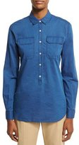 Loro Piana Janice Denim Half-Button Blouse, Blue