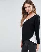 French Connection Arrow Crepe Size Zip Long Sleeved Top