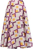 Emilia Wickstead Eleanor printed basketweave midi skirt