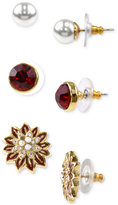 Charter Club Holiday Lane Gold-Tone 3-Pc. Set Multi-Stone Stud Earrings, Created for Macy's