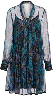 See by Chloe Floral Tie-Neck Chiffon-Silk Long-Sleeve Mini Shirtdress