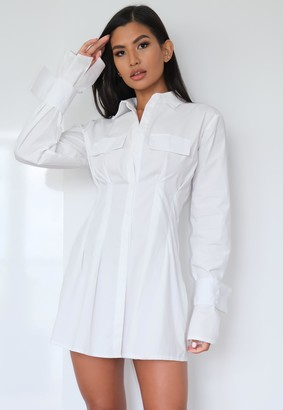 Missguided White Utility Pleated Waist Shirt Dress