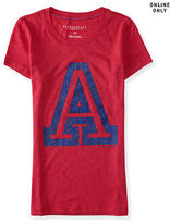 Aeropostale Womens Flocked A Graphic T Shirt