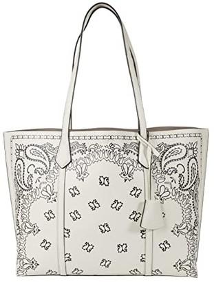 Tory Burch Perry Printed Triple-Compartment Tote (Ivory Americana Bandana) Handbags
