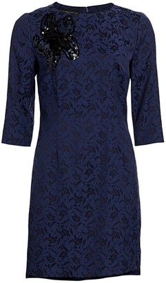 Etro Beaded Floral Jacquard Shift Dress