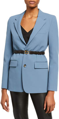 Bottega Veneta Crepe Blazer Jacket w/ removable Leather Belt