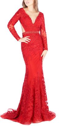 Mac Duggal Sleeveless Floral Gown