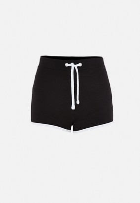 Missguided Black Contrast Binding Runner Shorts