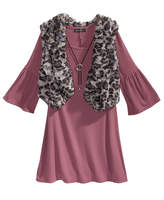 Sequin Hearts 3-Pc. Sweater Dress, Faux-Fur Vest and Necklace Set, Big Girls (7-16)