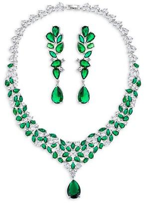 Eye Candy La Sally Green White Cubic Zirconia Necklace Earring Set