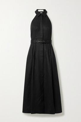 Zimmermann Bonita Belted Linen Halterneck Midi Dress - Black